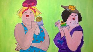 Vrijgezellenfeest Workshop Dikke Dames Schilderen
